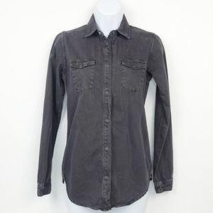 Scotch & Soda Denim Button Front Shirt Gray XS